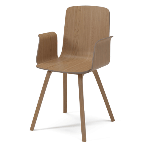 PALM VENEER DINING CHAIR WITH ARMREST - OILED OAK
