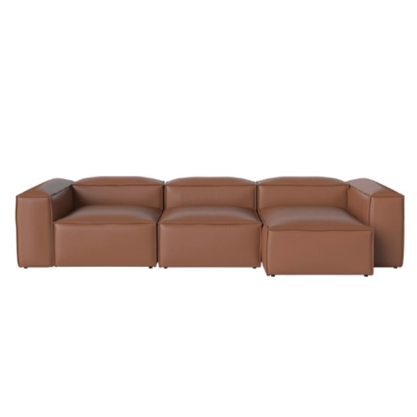COSIMA 3 UNITS CHAISE LONGUE RIGHT QUATTRO TRACEABLE - COGNAC (재고문의)