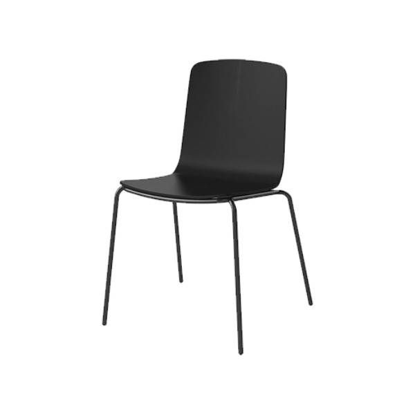 PALM VENEER DINING CHAIR WITH METAL FRAME - BLACK LACQUERED STEEL, BLACK STAINED OAK