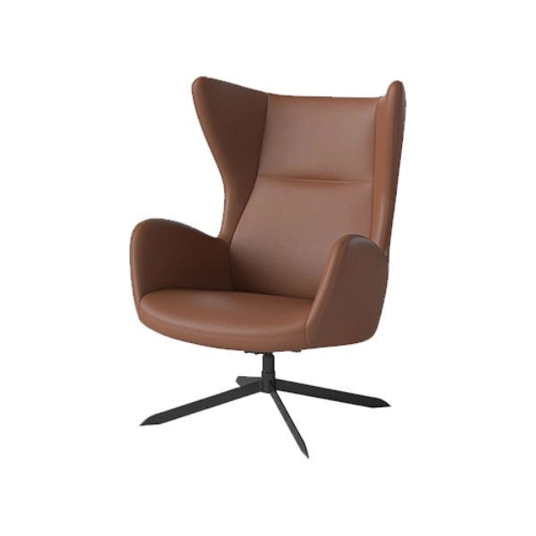 SOLO SWIVEL CHAIR WITH RETURN SWIVEL FUNCTION - COGNAC