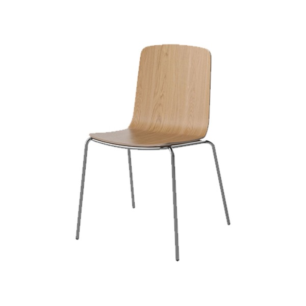 PALM VENEER DINING CHAIR WITH METAL FRAME - CHROME LEGS, OILED OAK