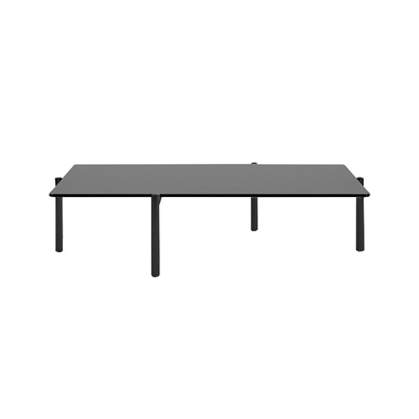 DS-21/91 TABLE - GLASS & BLACK COATED LEGS