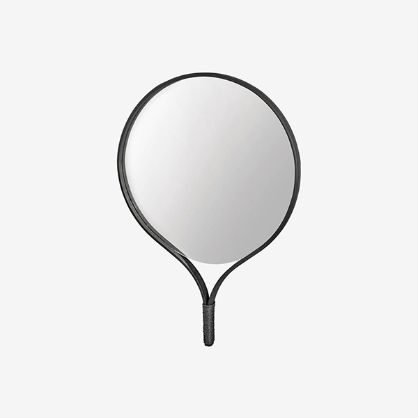 RACQUET MIRROR ROUND - BLACK STAINED OAK