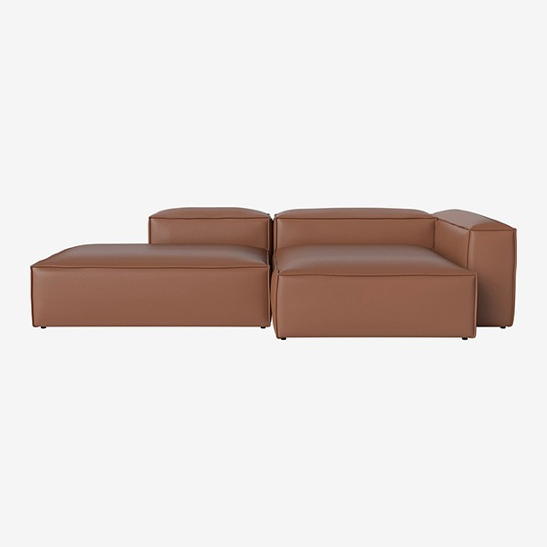 COSIMA 2 UNITS WITH CHAISE LONGUE LARGE AND OPEN END QUATTRO TRACEABLE - COGNAC