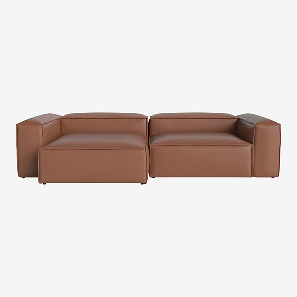 COSIMA 2 UNITS WITH CHAISE LONGUE LARGE AND CORNER UNITS LARGE QUATTRO TRACEABLE - COGNAC