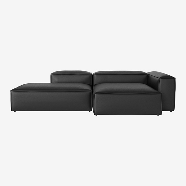 COSIMA 2 UNITS WITH CHAISE LONGUE LARGE AND OPEN END QUATTRO TRACEABLE - BLACK