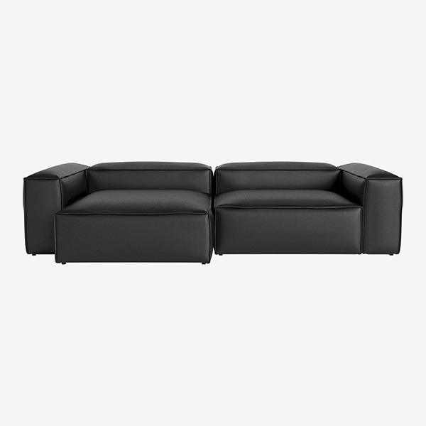 COSIMA 2 UNITS WITH CHAISE LONGUE LARGE AND CORNER UNITS LARGE QUATTRO TRACEABLE - BLACK